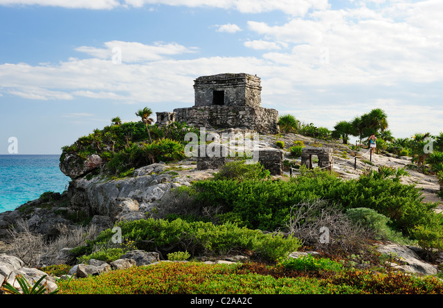 Temple of the Wind at Tulum, Quintana Roo, Mexico - Stock Image