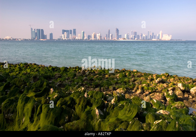 Qatar Doha bay skyline - Stock Image
