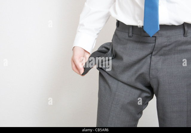 A business emptying his pockets - Stock Image