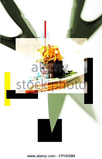 Pomme frites,painting with photography - Stock Image