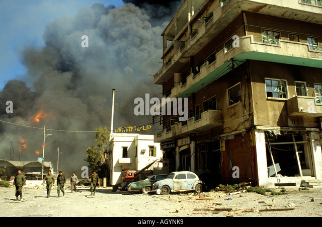 Shelling of The Bourj Hammoud area in Beirut Lebanon  during the civil war in 1988 - Stock Image