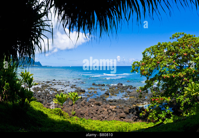 Blue Pacific waters at Hideaways Beach Princeville Island of Kauai Hawaii - Stock Image
