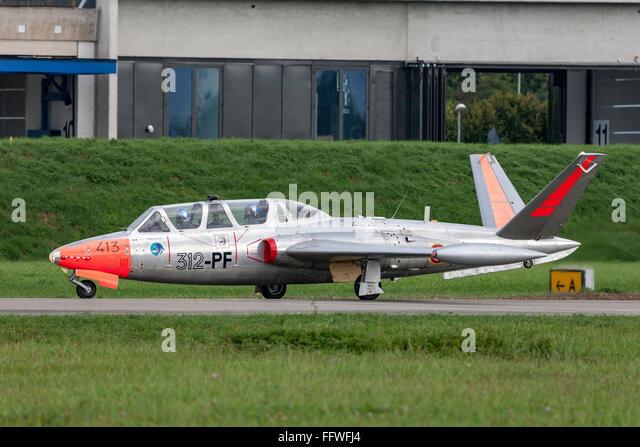 Fouga CM-170R Magister jet trainer F-AZPZ - Stock Image