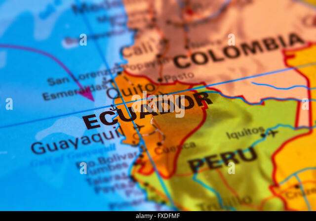 Ecuador and Capital City Quito on the World Map - Stock Image