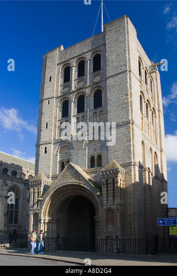 Norman Tower of St James near the Abbey in Bury St Edmunds Edmonds Suffolk England UK United Kingdom  GB Great Britain - Stock Image