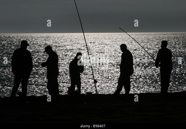 Nighttime angling on the Caspian Derbent - Stock Image