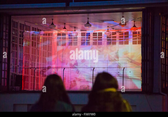 Bournemouth, Dorset, UK. 16 April 2016. Bringing Light to Mental Health show – interactive 3D light projection show - Stock Image