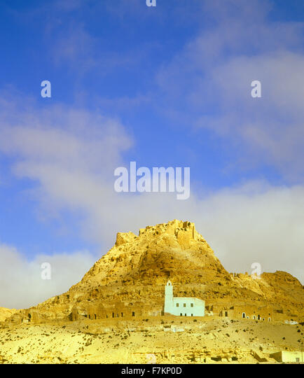 The hill top village of Douiret. Douiret, Tunisia. - Stock Image
