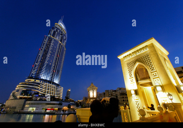 The Adress Five Star Hotel near Burj Khalifa nad Dubai Mall, - Stock Image