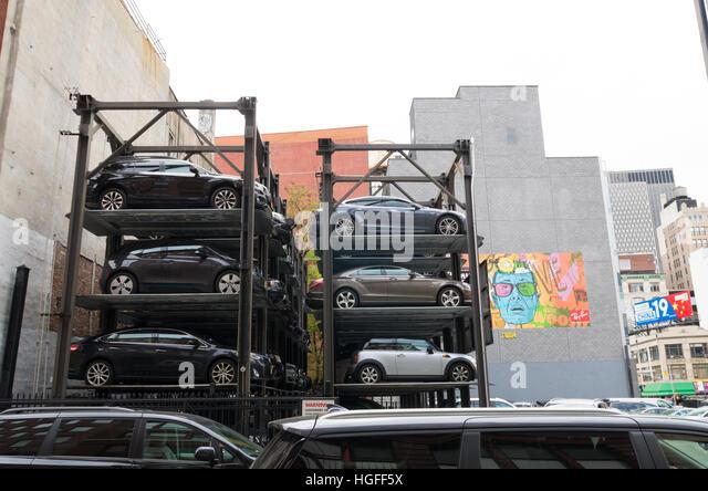 Car park stacked parking garage stock photos car park for Parking garages new york city