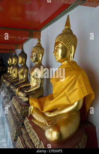 Sitting Buddhas, Wat Pho (Reclining Buddha Temple), (Wat Phra Chetuphon), Bangkok, Thailand, Southeast Asia, Asia - Stock Image