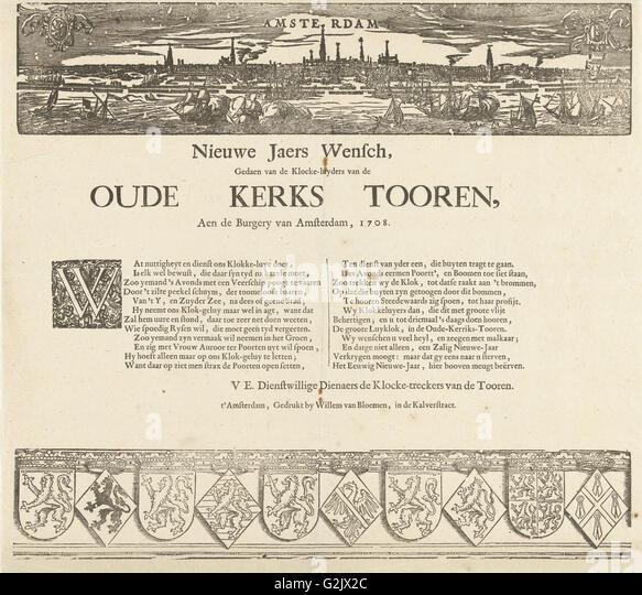 Nieuwejaers Wensch, Gedaen of Klocke-luyders van de Oude Kerk Tooren, Aen de Burgery van Amsterdam, 1708, The Netherlands - Stock Image