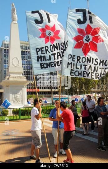 Argentina Buenos Aires Plaza de Mayo landmark historic main square political hub protest demonstration activist - Stock Image