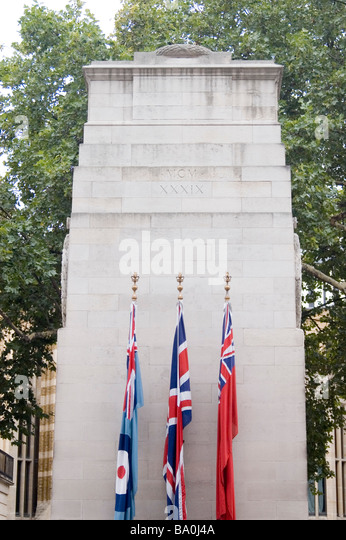 The Cenotaph by Edwin Lutyens on Whitehall in London is the premier war memorial in the United Kingdom - Stock Image