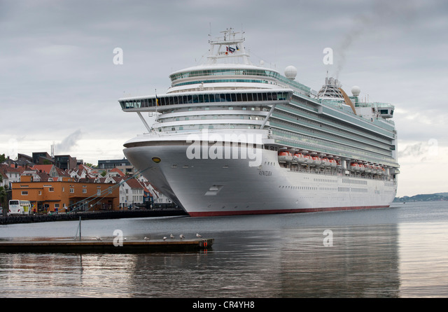 MS Ventura, cruise liner, in the port of Stavanger, Rogaland, Norway, Scandinavia, Europe - Stock Image