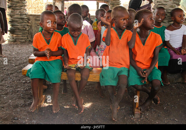 LOIYANGELENI, KENYA - May 18. School children at a school in the El Molo village in Loiyangalani. Credit: David - Stock Image