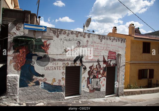 Murales, wall painting, Orgosolo village, Nuoro Province, Sardinia, Italy - Stock Image