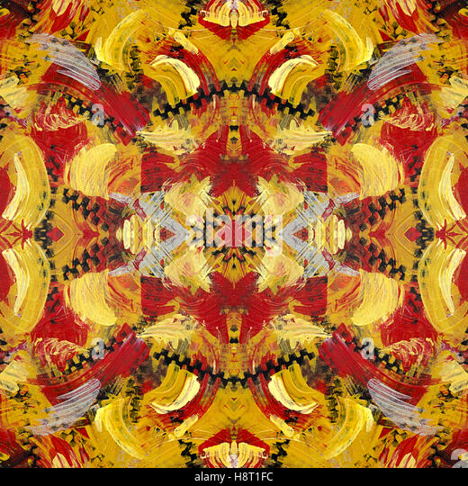 Red and gold abstract pattern - Stock Image