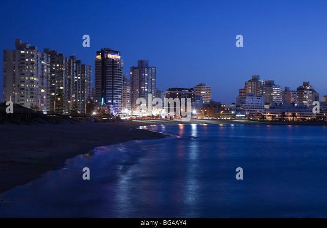 Uruguay, Punta del Este, view from Playa Mansa beach, evening - Stock Image