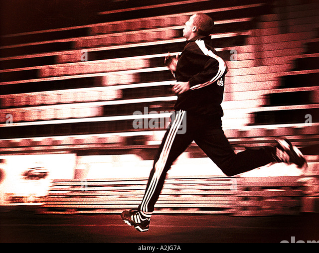 Athlete training, the Image shows motion blur in the background. - Stock Image