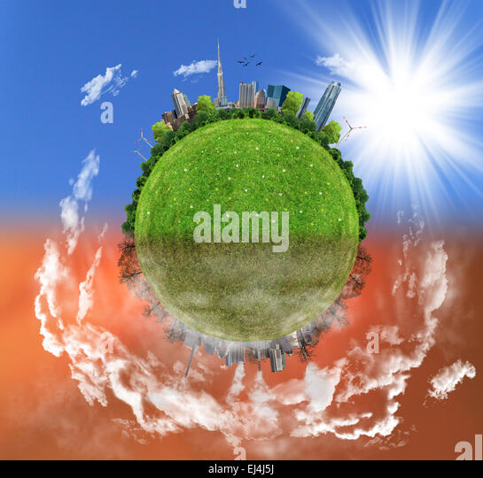 Two options / sides , eco concept, eco digital art - Stock Image