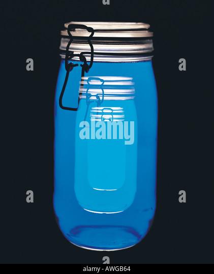 Blue storage jars - Stock Image
