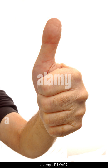 Thumbs up! Wide-angle, distorted, view of a man giving the thumbs up sign, isolated on white - Stock Image