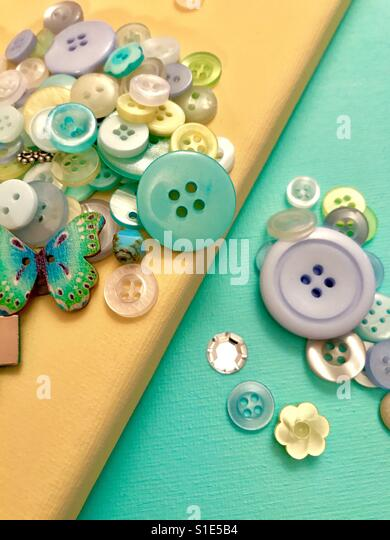Art and crafts with buttons - Stock-Bilder