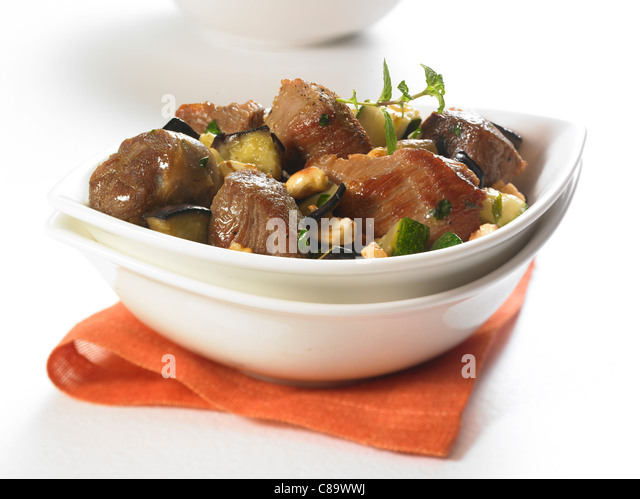 Lamb stew with cashews and mint - Stock Image