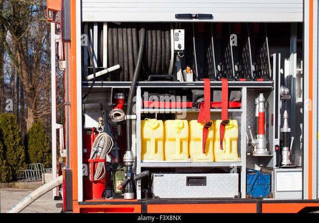 Firefighting vehicle with equipment - Stock Image