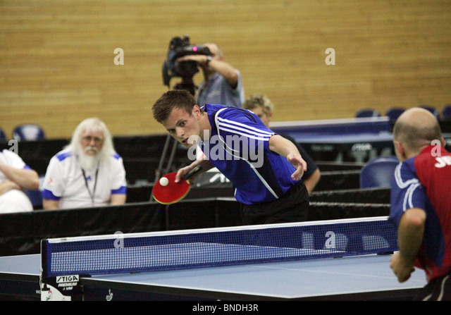 Johan Eriksson Gotland wins matchpoint in Table Tennis Team Final Natwest Island Games 2009, June 30 2009 - Stock Image