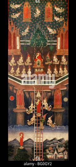 Scroll of Buddha's Descent from Heaven, Thailand, Southeast Asia, Asia - Stock Image