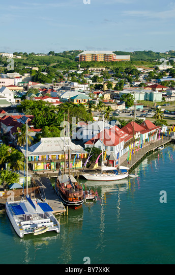 Looking down on brighly colored Redcliffe Quay, St Johns, Antigua from Caribbean cruise ship - Stock Image