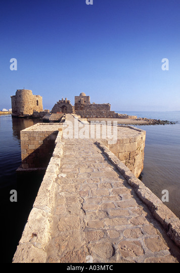 Crusader Castle (Qasr al-Bahr), Sidon, Lebanon - Stock Image