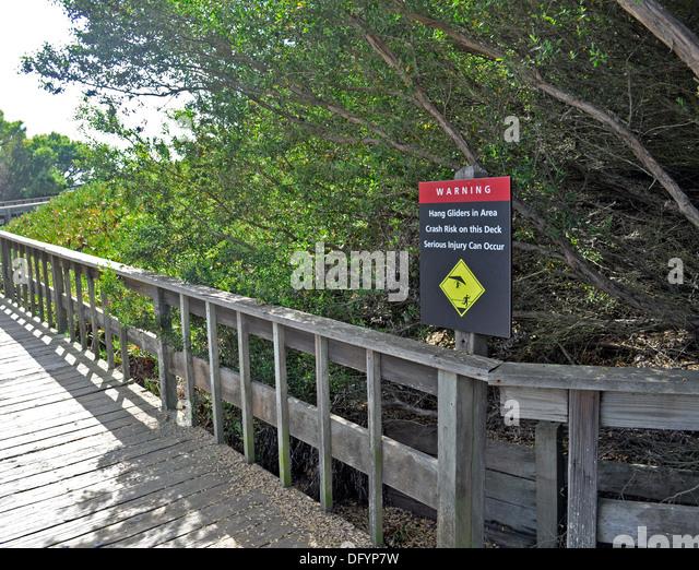 Hang glider warning sign at Fort Funston, San Francisco - Stock Image