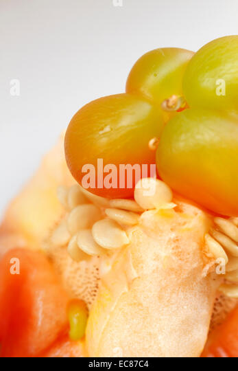 interior of raw red bell pepper, studio shot. - Stock Image