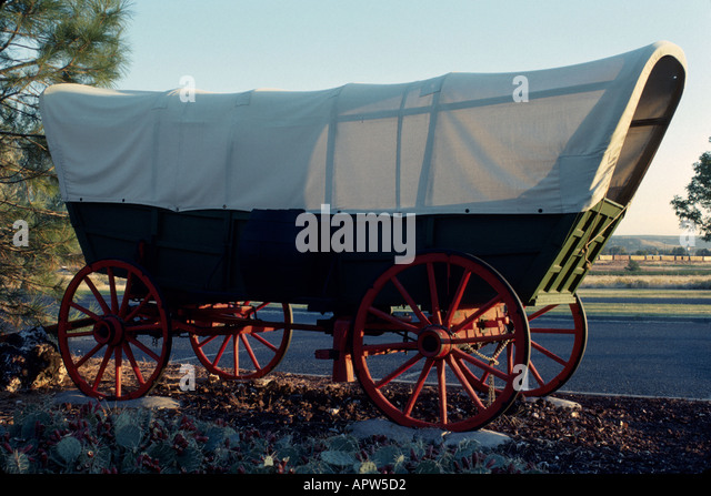 Idaho Northwest The West Snake River Three Crossing State Park prairie schooner replica covered wagon pioneer transportation - Stock Image