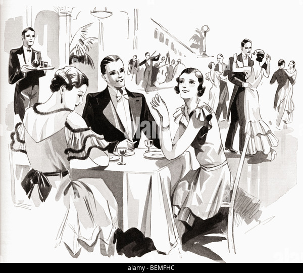 Art Deco type illustration. From The Illustrated London News, Christmas Number, 1933. - Stock Image