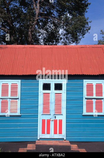 Barbados West Indies Caribbean Colorful Chattel House - Stock Image