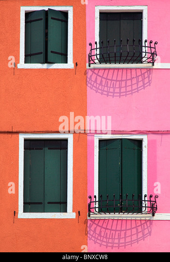 Houses in Burano, an island in the Venetian Lagoon - Stock Image