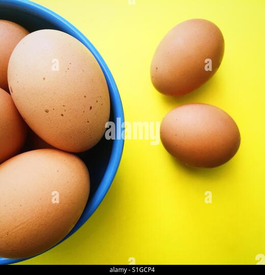 An overhead view of organic brown eggs in a blue bowl on a yellow background - Stock-Bilder