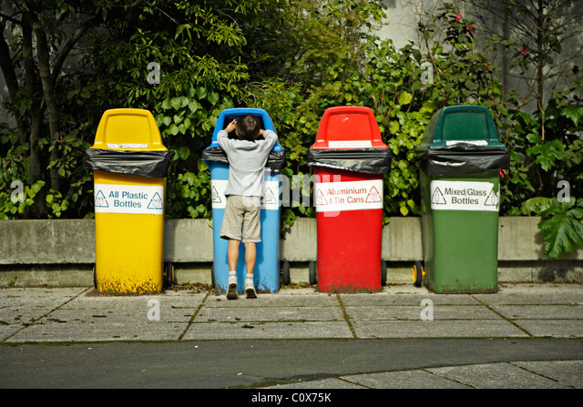 Recycling bins, New Zealand. - Stock Image