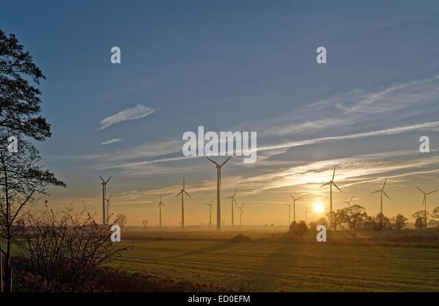 Germany, Ostfriesland, Spetzerfehn, Morning sun over wind turbines - Stock Image