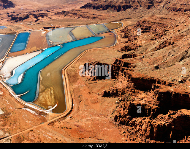 Aerial landscape of tailing ponds for mineral waste in rural Utah United States - Stock Image
