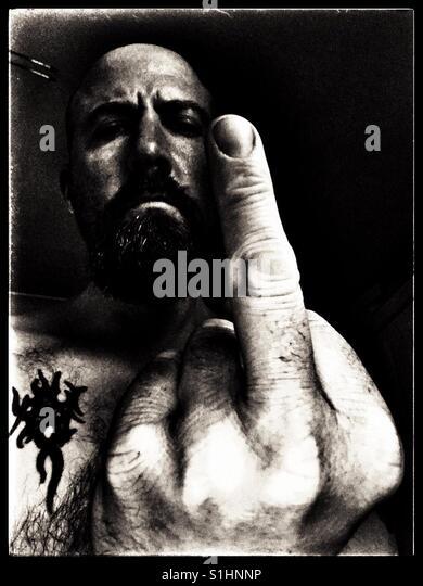 Man giving the finger hand gesture. - Stock-Bilder