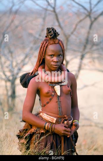 Young girl of the Himba tribe, Opuwo, Namibia - Stock Image