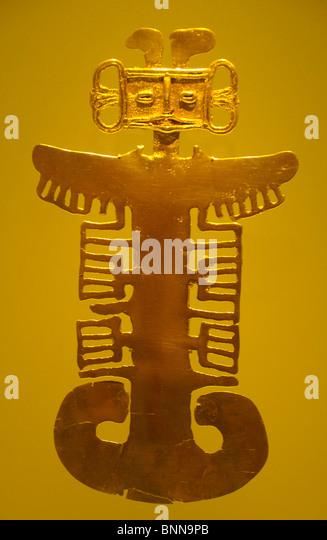 Exhibition pieces Museo del Oro präkolumbianisch Gold Gold Bogota Colombia South America Figur - Stock Image