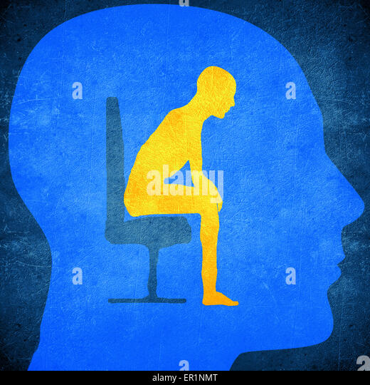 blue human head silhouette with a man sitting inside psychology concept - Stock-Bilder