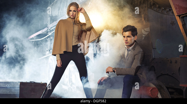Attractive blonde woman with her handsome boyfriend - Stock Image