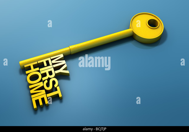 My first home written on key - Stock Image